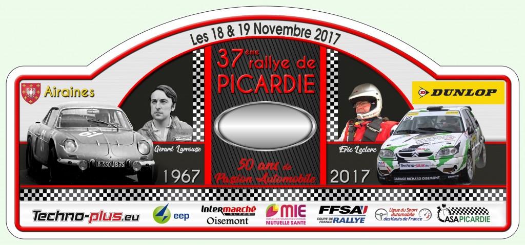 PLAQUE RALLYE DE PICARDIE 2017