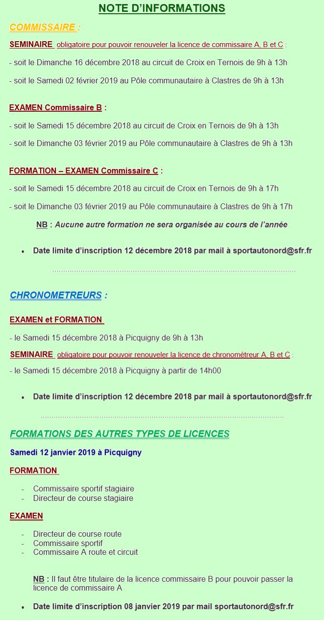 formations examens 2018-2019